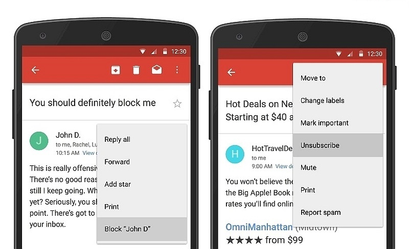 Block and Unsubscribe From emails in Gmail