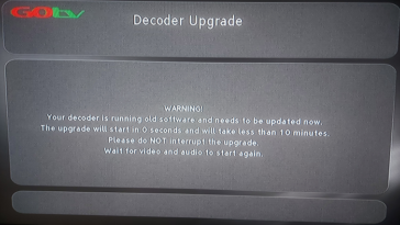 your decoder is running old software and needs to be updated now